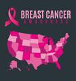 breast cancer awareness usa map and ribbon vector image vector image