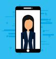 businesswoman in smartphone avatar character vector image vector image