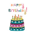 cake with candles inscription happy birthday vector image