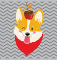 cartoon portrait of smiling dog with candy vector image vector image
