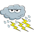 Cartoon rain cloud with lightning bolts vector image