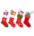 Christmas socks with candies vector image