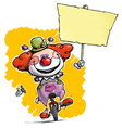 Clown on Unicle Hoding Plackard vector image vector image
