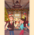 couple celebrate merry christmas and happy new vector image