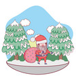 cute christmas santa claus with bag in the vector image vector image