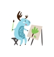 Deer Painting A Picture vector image vector image