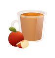 delicious natural tea with a ripe apple in a vector image
