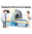 doctor and nurse working with magnetic resonance vector image vector image