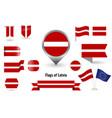 flag latvia big set icons and symbols vector image vector image