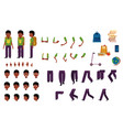 flat african student kid creation set vector image
