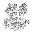 flower cyclamen coloring vector image vector image