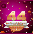 forty four years anniversary celebration design vector image vector image