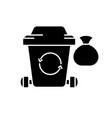 garbage black icon sign on isolated vector image