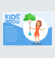 girl planting young tree eco concept kids land vector image vector image