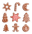 glazed gingerbread of various shapes set vector image