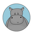 gray male cartoon hippo is smiling avatar vector image vector image