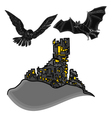 Halloween castle with owl and bat vector image