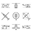 helicopter icons set outline style vector image vector image