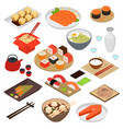 japanese food concept 3d icon set isometric view vector image