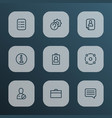 job icons line style set with candidate briefcase vector image vector image