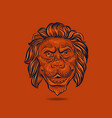 lion hand drawn head floating on orange background vector image vector image
