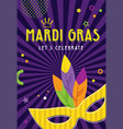 mardi gras party greeting card or invitations vector image vector image