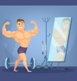 muscular man posing a front of mirror bodybuilder vector image