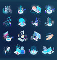 nano technology isometric icons vector image vector image