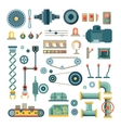 Parts of machinery and robot flat icons set vector image