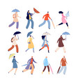 people with umbrellas rainy autumn city street vector image vector image