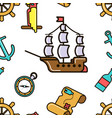 pirate ship and treasure map adventurous kids vector image