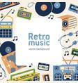 retro music card design square background vector image