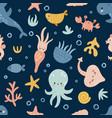 seamless pattern cute sea creatures vector image