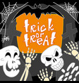 skull trick of treat concept background hand vector image vector image