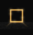 square frame with glowing shiny light bulbs vector image vector image