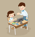 teacher teaching computer to student girl vector image vector image