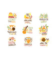 touristic travel agency set of colorful promo sign vector image