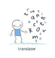translator is thinking about letters vector image vector image