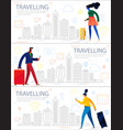 traveling concept banner trendy character design vector image vector image