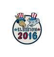 US Election 2016 Mascot Donkey Elephant Circle vector image vector image