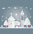 winter season with snowflake house gift box vector image vector image