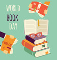 world book day stack of books with hands vector image
