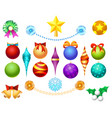 xmas tree toys set vector image