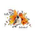 floral card design hello autumn season colorful vector image