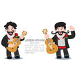 mariachi with a guitar mexican musician two dark vector image