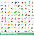 100 country icons set isometric 3d style vector image vector image