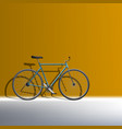 3d bike near orange wall ecological transport vector image