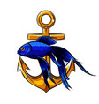 a draw anchor and fish vector image vector image
