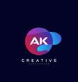 ak initial letter logo icon design template