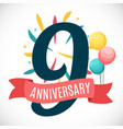 anniversary 9 years template with ribbon vector image vector image